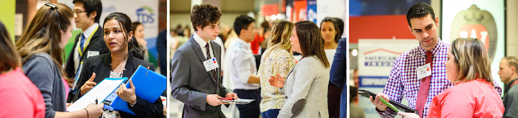 Images of students and employers talking at recent career fairs