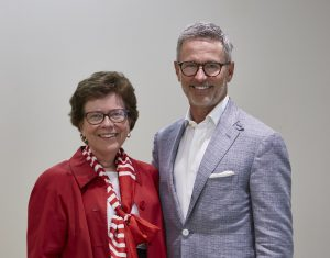 Lands' End CEO Jerome Griffith and UW–Madison chancellor Rebecca Blank