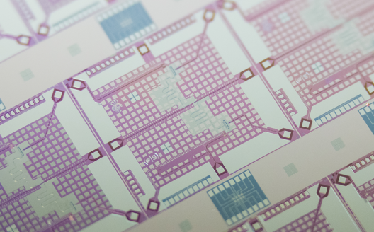 a magnification of a superconducting chip