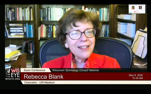 Chancellor Rebecca Blank on a webinar May 8, 2020